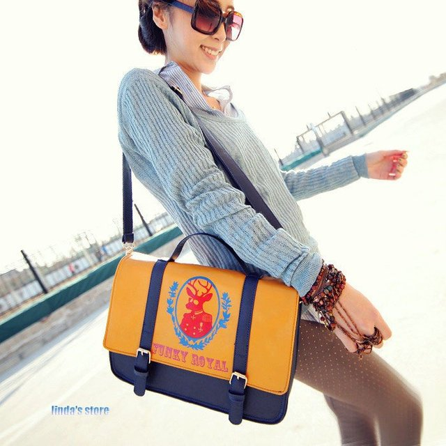 Korean  fashion handbag deer Figure Shoulder Messenger pu bags