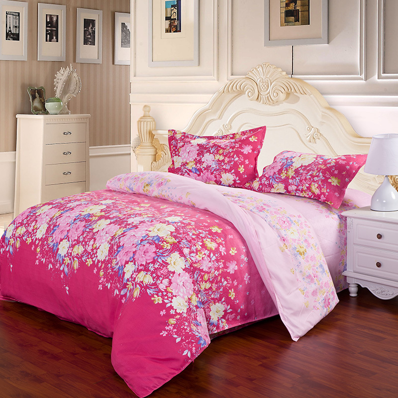 4pcs twin full size yellow pink blue peony flowers rose - Blue and pink floral bedding ...