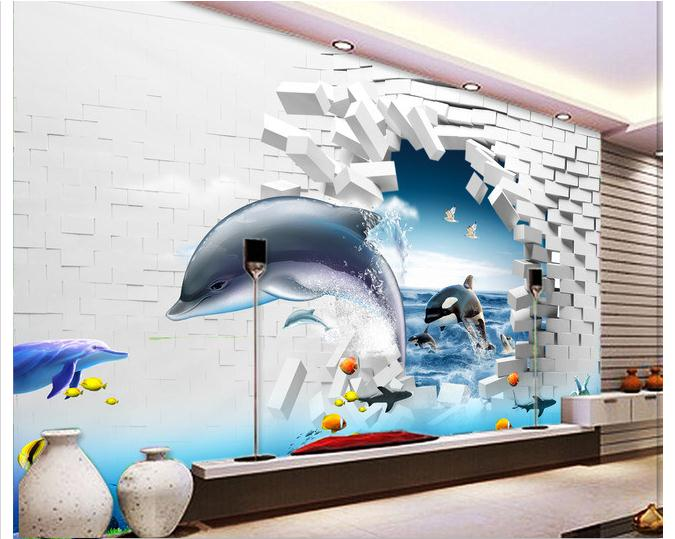 Free shipping 2014 New Underwater world 3 d culture stone column TV setting wall of Rome wallpaper(China (Mainland))