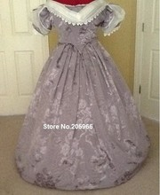 Custom Made 1846s Lavender Jacquard Victorian Period Ball Gown&Bridal Gown/Stage Dress/Holiday Dress