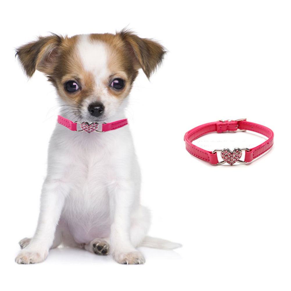2016 Dog Puppy Pet Red PU Leather Collar Bling Crystal Rhinestone Heart Adjustable Buckle Necklace Neck Strap Size XXS XS S