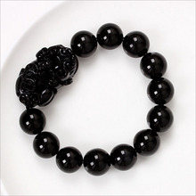 New Natural Obsidian Beaded Bracelet Fashion Blacek Bangles For Women & Men Vintage Jade Jewelry Ornaments 14 Mm Beads Hhhys131(China (Mainland))