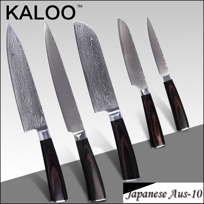 """KALOO damascus knives 8 inch chef slicing 7"""" 5"""" santoku 4.5"""" utility knife Aus-10 stainless steel damascus kitchen knives tools(China (Mainland))"""