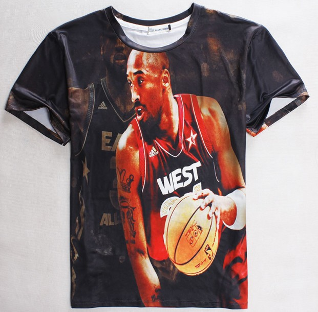 2015 new 3d t shirt Basketball Character 3D Clothing short sleeve casual t-shirt men's thin print tees(China (Mainland))