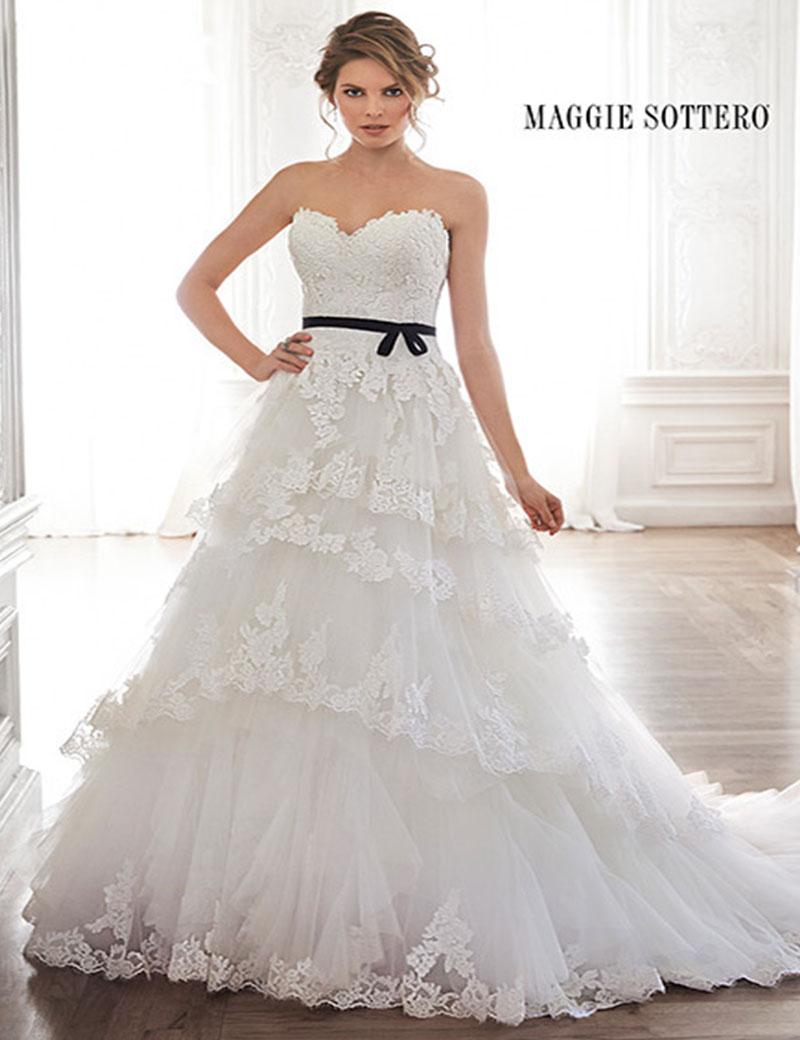Elegant a line sweetheart appliqued casual wedding dress for A line ruffle wedding dress