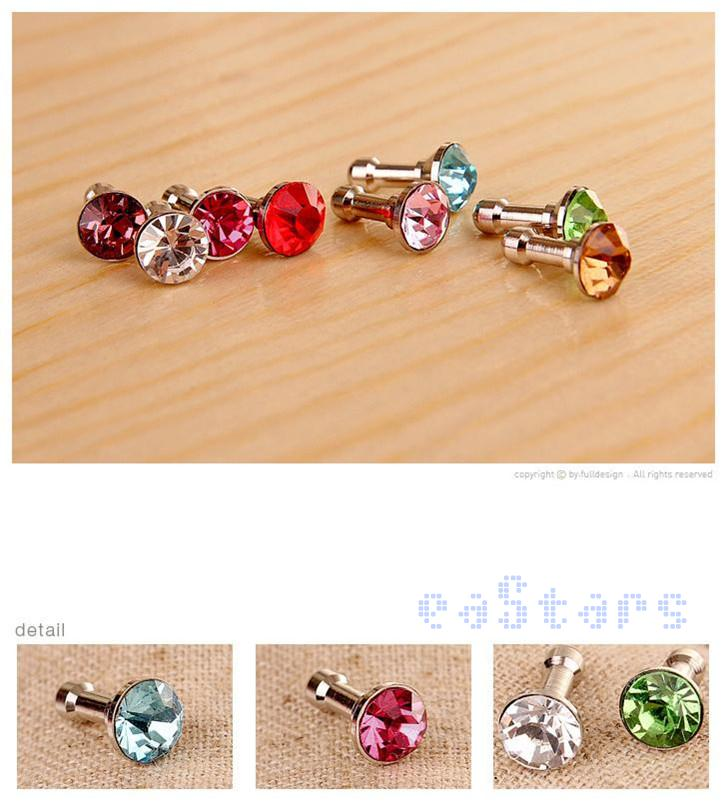 1xMagnetic Crystal Diamond 3.5mm Earphone Jack Dust proof Cap Plug Stopper phone plugs(China (Mainland))