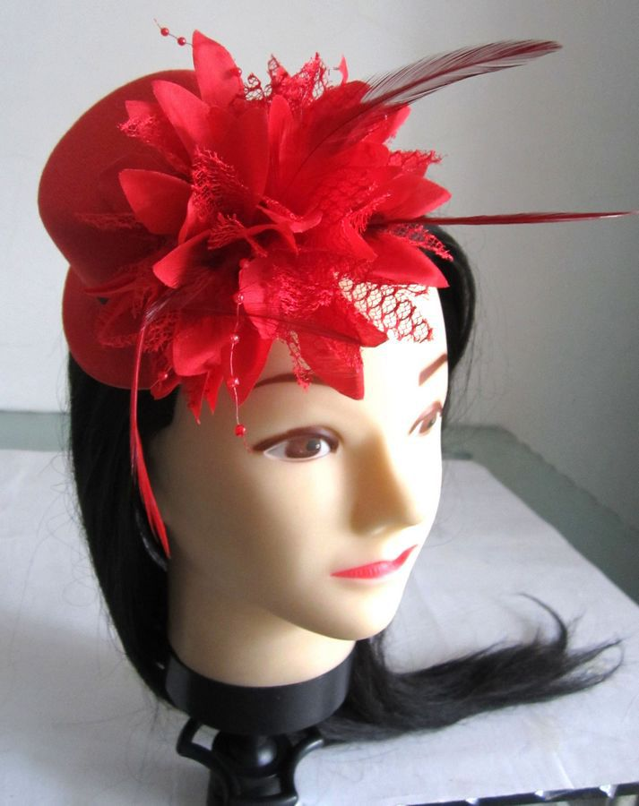 Womens Girls' Red Feather Flower Bridal Headpieces Wedding Party Show Fascinators Little Pillbox Perform Hats Caps Hair Clips - Gifts Box store