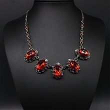 Vintage Crystal Statement Necklace Women Summer Style Black Chain Necklaces Pendants Colar Jewelry For Gift Party