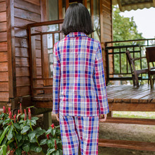 Song Riel fashion cotton long sleeved plaid pajamas couple of men and women comfortable casual tracksuit