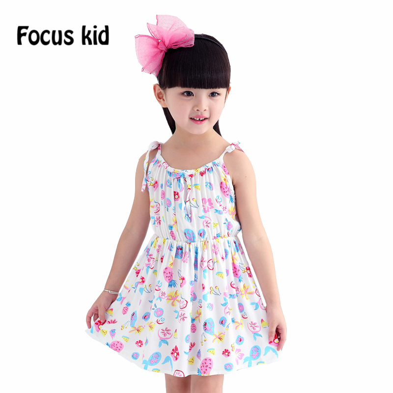 2015 Fashion girl dress summer girls clothing floral Sundresses sleeveless princess children's clothing 6 style D3Z40(China (Mainland))