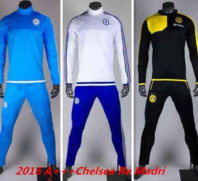 2016 survetement football Chelsea soccer tracksuits chelsea chandal futbol Dortmund tracksuits training suits Marseille pants(China (Mainland))