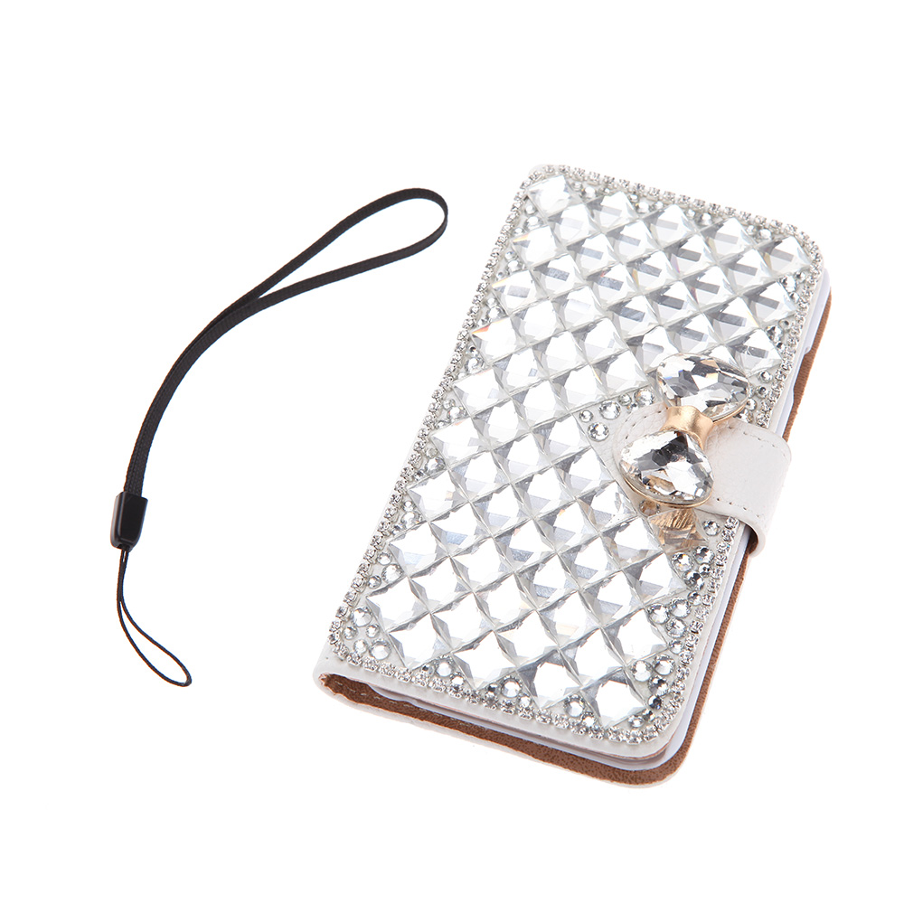 """4.7"""" Fashion Flip PU Leather Bling Wallet Protective Case Bowknot Rhinestone Diamond Cover with Card Holder String for iPhone 6(China (Mainland))"""