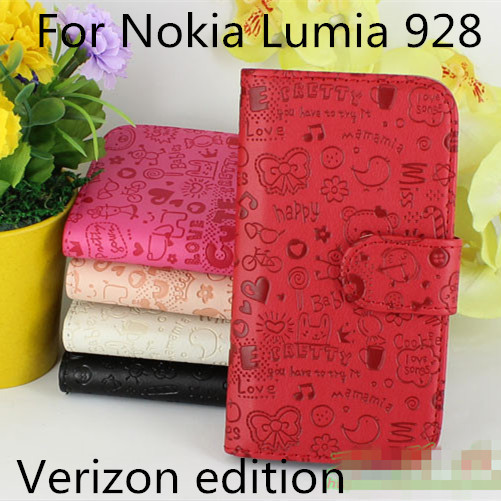 High Quality Luxury Lovely Flip Leather cell phone Cover Case for Nokia Lumia 928 Verizon with Card Holder Stand Design (XMN01)(China (Mainland))