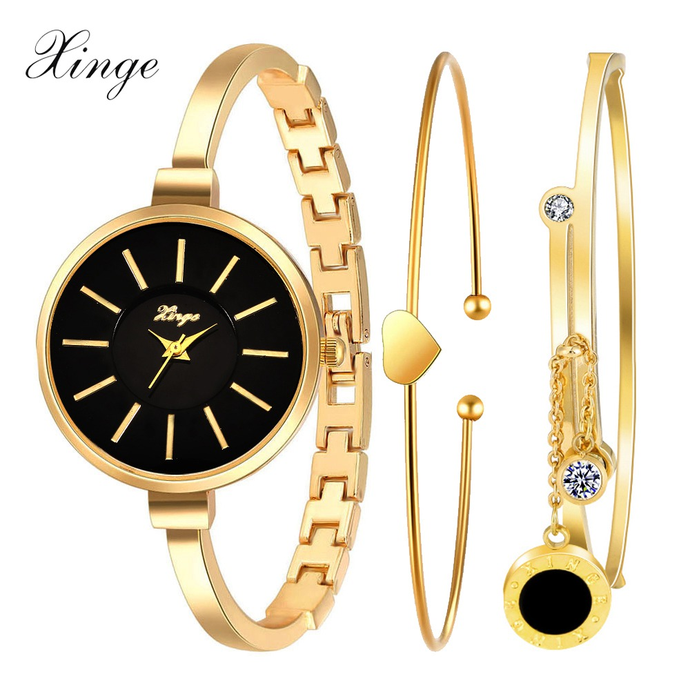 Xinge Fashion Brand Watch Women Gold Crystal Rhinestone Bracelet Wristwatch Heart Pendant Luxury Ladies Dress Quartz Watch(China (Mainland))