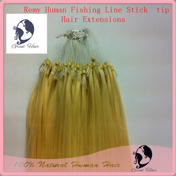 Great Hair Products Blonde Natural Hair, Fishing Line Stick Tip Micro Loop Hair Extension Hair Accessories 50g/pack 13 Colors(China (Mainland))