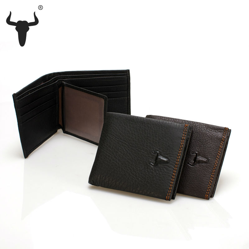 2015 casual black men wallets genuine leather purse mens short male id card holder Tau brand horizontal wallet high-quality(China (Mainland))