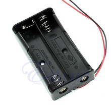 A96 Free Shipping New Black Plastic Storage Box Case Holder For Battery 18650 With 6″ Wire Leads 2