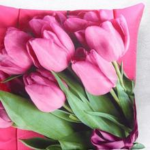 Trade Hot Wholesale New Home Decorative Furnishing Sofa Cushion Throw Red Tulip Short Plush Material Lovely Pillow(China (Mainland))