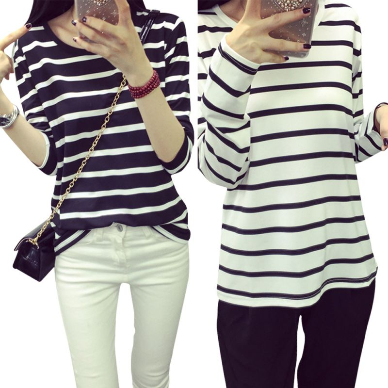 High Quality Women Black White Striped Casual Cotton Slim