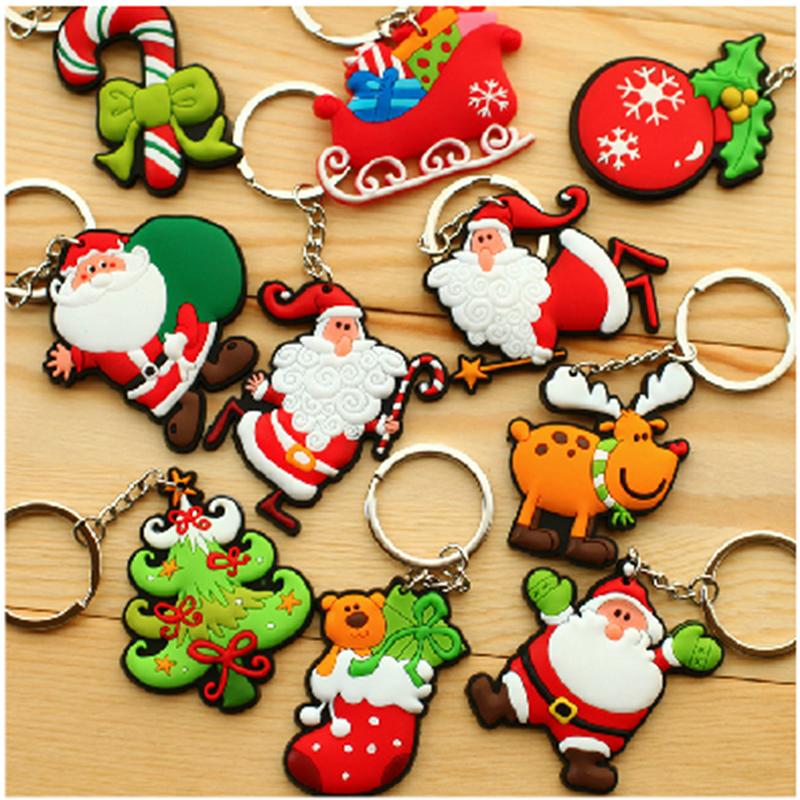 10pcs Christmas Xmas Tree Ornament Decoration Decor Key Chains Christmas Santa Claus Keychain Gift(China (Mainland))