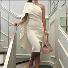 Elegant Robe De Cocktail Dresses One shoulder Cheap Fromal Gowns Party dress Saudi Arabia Custom Made 2017(China (Mainland))