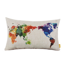 Decorative Throw Pillows World Map Geometric Colorful Cotton Linen Cushion Cover For Sofa Home Decor Pillowcase In Stock #85129(China (Mainland))