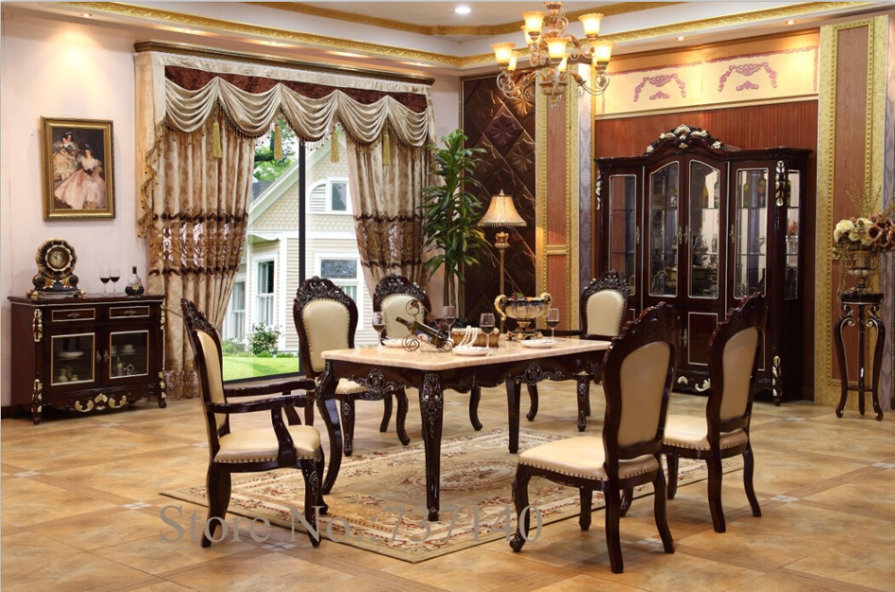 furniture group buying dining table antique dining room set home furniture solid wood dining table and chairs wholesale price(China (Mainland))