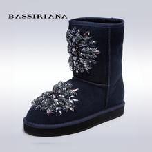 BASSIRIANA – women's fashion black high boots, low heel