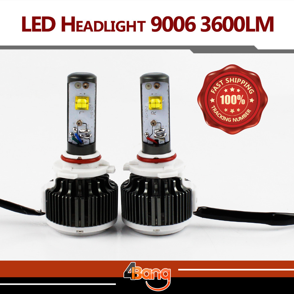 Pair 60W 7200LM 9006 Single Beam Car Headlight Conversion Kit CREE LED Xenon White 6000K 30W 3600LM Fog Lamp Cooling Fan/Drive