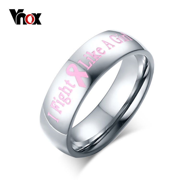 Vnox Women's Ring of Support Breast Cancer Awareness Pink Rings for Women Female Organization Jewelry Wholesale(China (Mainland))