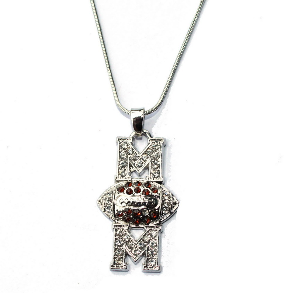 rhinestone football necklace mm gift for sports