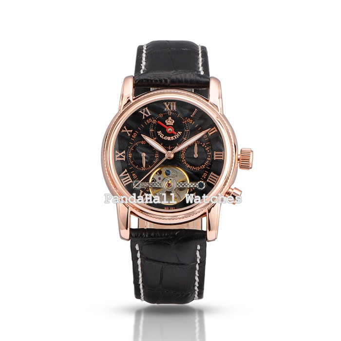ORKINA Mechanical Watch Men Automatic Self-wind Wristwatches Leather Luxury Brand Business Watches for Men Black Color