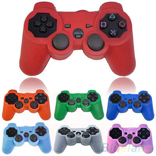 Silicone Protective Skin Cover Wrap Case for Playstation 3 PS3 Controller Gamepad 2JHA(China (Mainland))