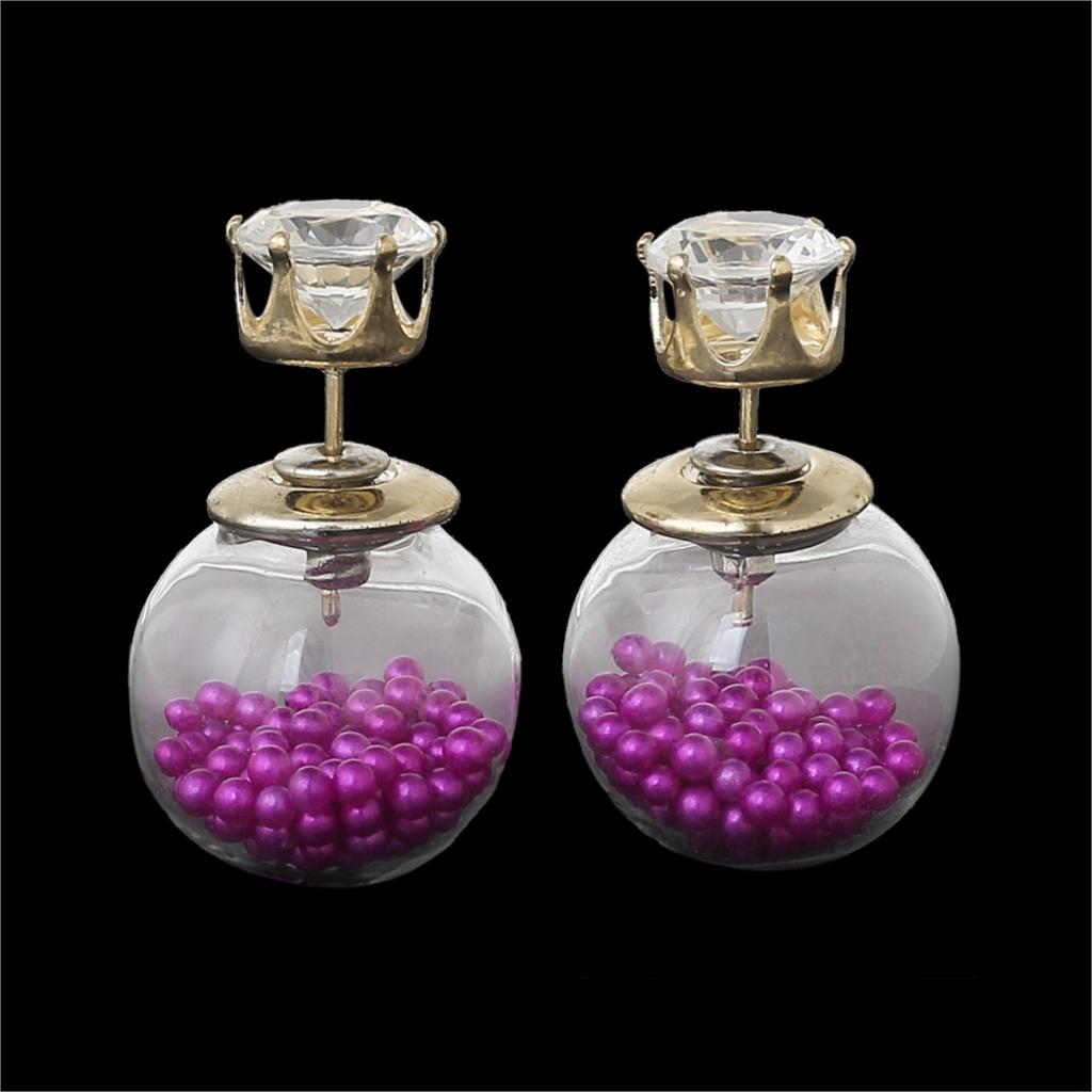Fashion Lady Christmas Ear Studs Glass Clear Earrings Round Purple Imitat Zircon Seed Beads Inside 24x16mm,1Pair 2015 new(China (Mainland))