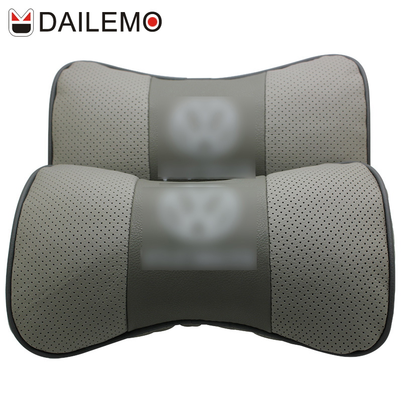 DAILEMO Silver Car Styling Seat Cover Neck Support Leather Covers Headrest For VW Volkswagen Golf Passat Scirocco R CC EOS Beetl(China (Mainland))