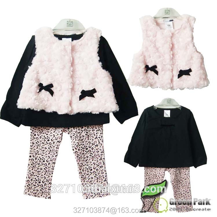 3pcs sets new 2016 fashion brand Girls Leopard flower clothes baby bow fur suits Kids vest+t-shirt +pants(China (Mainland))