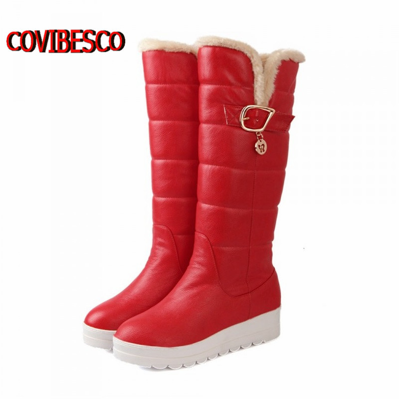 autumn winter women snow boots,wedges heels cotton warm knee high boots,fashion shoes motorcycle boots - COVIBESCO Ltd's store