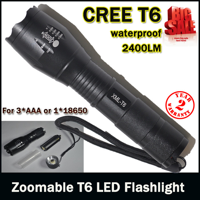 E17 CREE XM-L T6 3800Lumens cree led Torch Zoomable cree LED Flashlight Torch light For 3xAAA or 1x18650 Free shipping(China (Mainland))