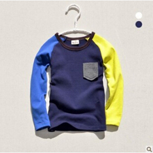 Free shipping,2015 New ,100% Cotton,High quality Autumn Summer Boys Long sleeve T-shirt two color for 100~130 kids KTX18A46(China (Mainland))