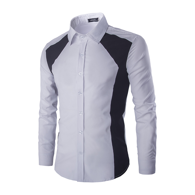 Fashion causal slim fit shirts men long sleeve patchwork ...