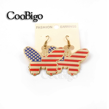 1000 pairs/pack Popular Butterfly USA Flag Dangling Earring Women Casual Party Fashion Jewelry National Day Accessories#FJ089E-2(China (Mainland))