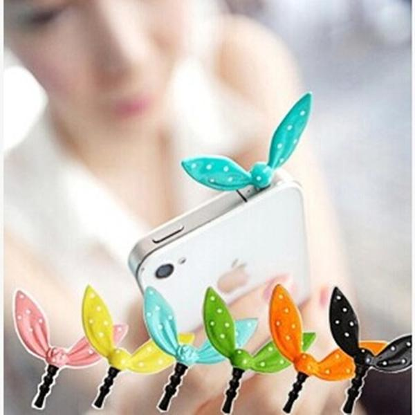 Earphone Limited Dust Plug Dachshund 2014 New Cute Colorful Rabbit Ear Bowknot Dustproof Plug Caps Cell Phone Accessories(China (Mainland))