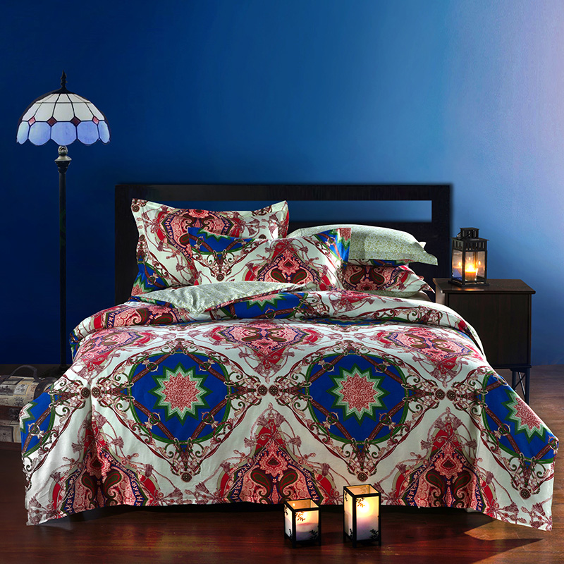 Moroccan ethnic style cotton bedding set queen size for Lit queen size taille