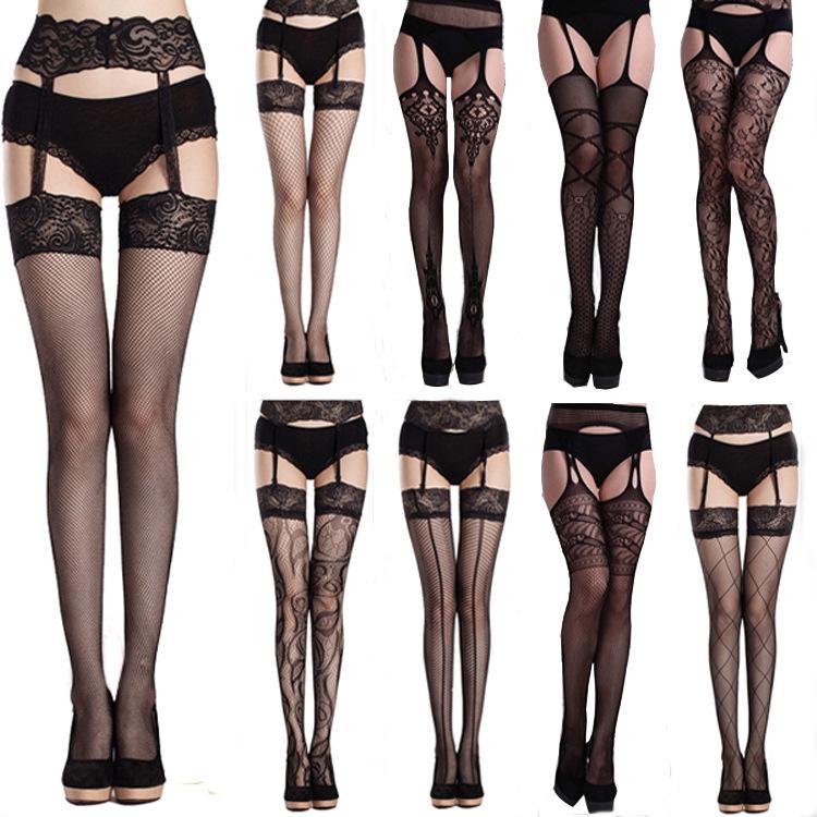 9 Styles, Adult Garter Belt Women Fishnet Tights Highs, Sexy Mesh Stockings, Women Stockings Pantyhose(China (Mainland))