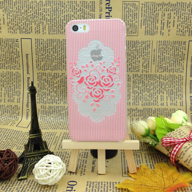 Hot Adorable Pink Flowers Pattern Drop Resistance Anti-Dust Ultra Thin Hard Back Cover Phone Cases For Apple Iphone 5 5S Case(China (Mainland))