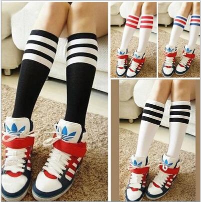 Kids Knee High Socks Girls Boys Football Strips Cotton Old School White Sport Socks Soccer Boots Children Baby Long Leg Warmer(China (Mainland))