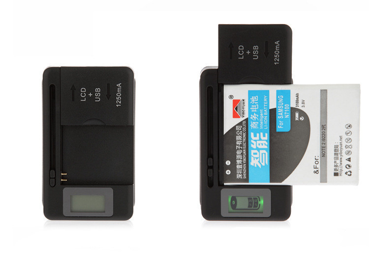 EU / US / UK Universal Battery & Device Dual Charger for Cell Phone Camera with LCD Indicator Screen-T01(China (Mainland))