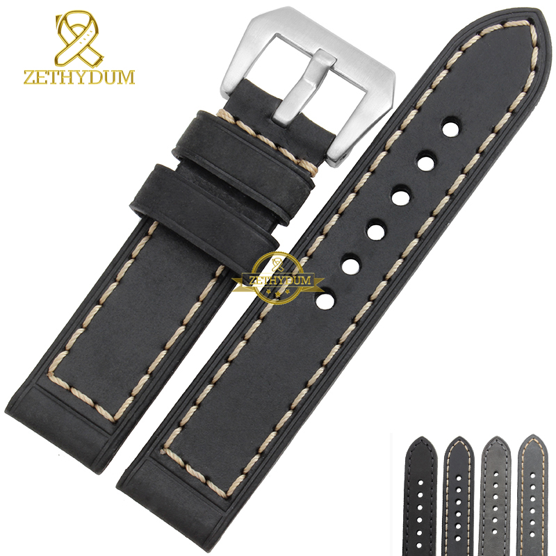 Genuine leather bracelet watch strap Handmade watchband mens wristwatches band retro Style 20 22mm 24mm 26mm gray accessories(China (Mainland))