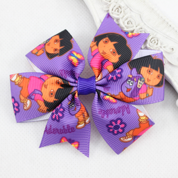3.1 inch High Quality Grosgrain Ribbon DORA Hair Bows with Clip for Children Hair Accessories Baby Hairbows Hairpin 6pcs/lot(China (Mainland))