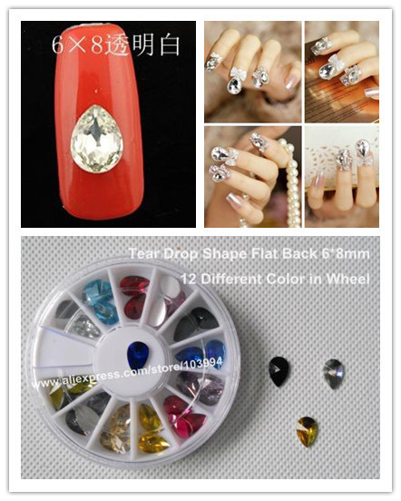 FREE SHIPPING! 100PACK 6*8mm Tear Drop Shape Flat Back 12Color Rhinestone Nail Art Fashion Decoration Rhinestone Acrylic+ Wheel
